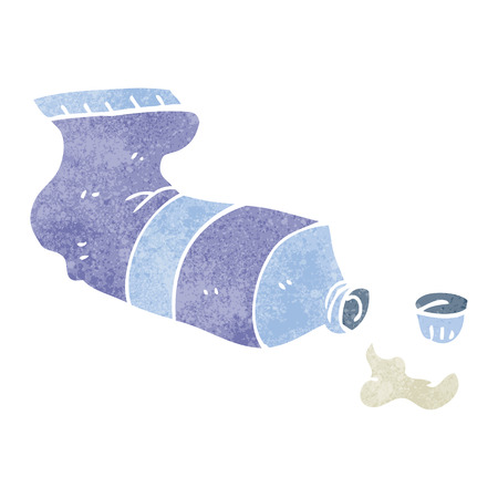 squeezed: freehand retro cartoon squeezed tube of toothpaste Illustration