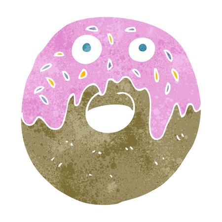doughnut: freehand retro cartoon doughnut Illustration