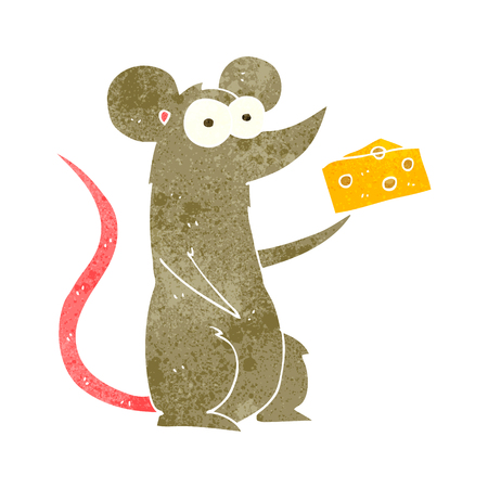 free hand: freehand retro cartoon mouse with cheese