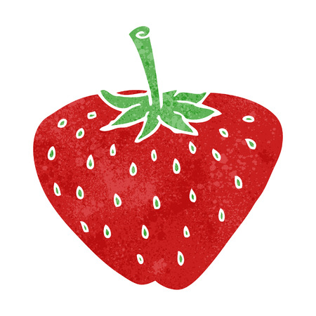 cartoon berries: freehand retro cartoon strawberry