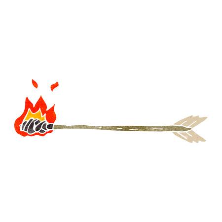 flaming: freehand retro cartoon flaming arrow Illustration