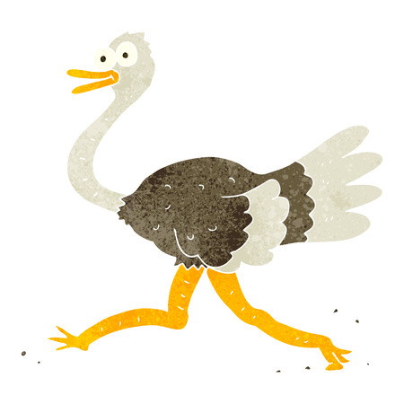 freehand retro cartoon ostrich Illustration