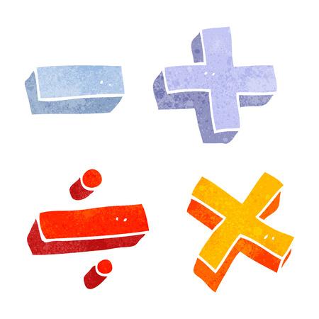 uit de vrije hand retro cartoon wiskundige symbolen Stock Illustratie