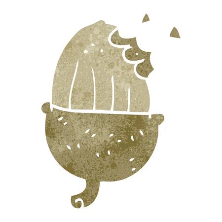 nibbled: freehand retro cartoon acorn