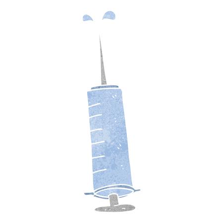 cure: freehand retro cartoon medical needle Illustration