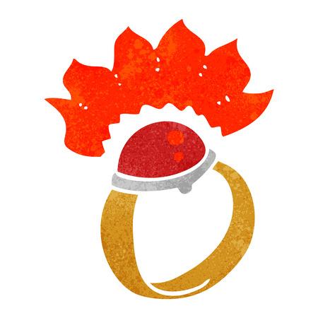 ring ruby: freehand retro cartoon magic ruby ring Illustration