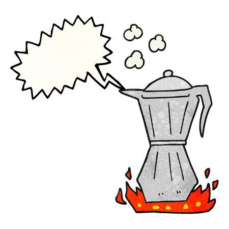 stovetop: freehand speech bubble textured cartoon stovetop espresso maker