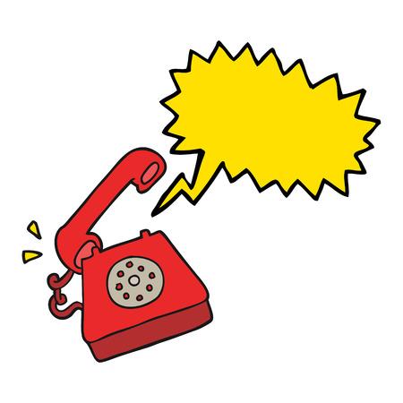 telephone: freehand drawn speech bubble cartoon ringing telephone Illustration