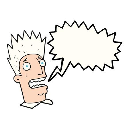 shocked man: freehand drawn speech bubble cartoon shocked man