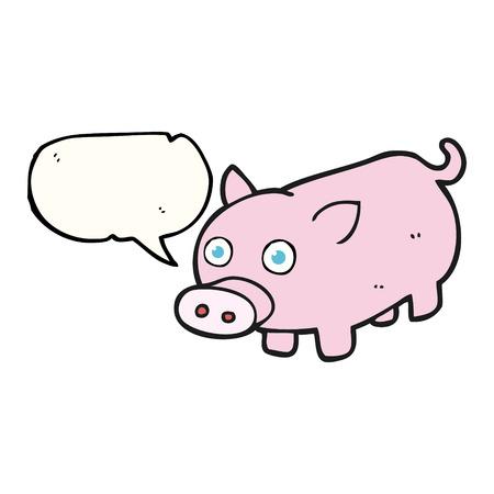 piglet: freehand drawn speech bubble cartoon piglet Illustration