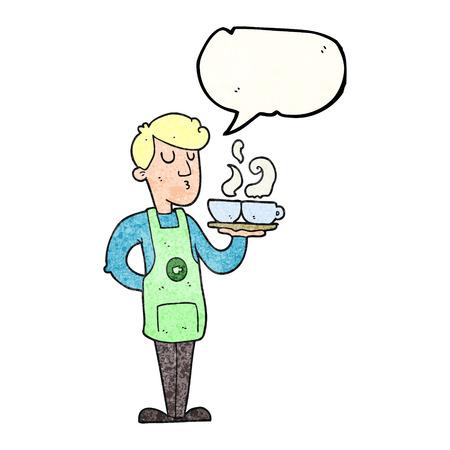 barista: freehand speech bubble textured cartoon barista serving coffee