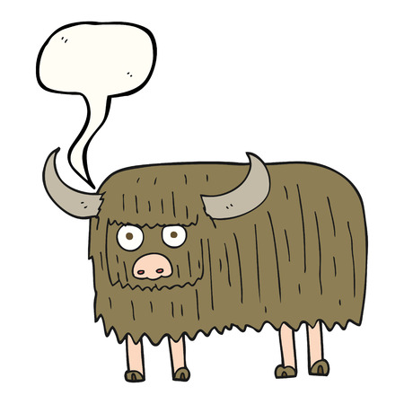 hairy: freehand drawn speech bubble cartoon hairy cow Illustration