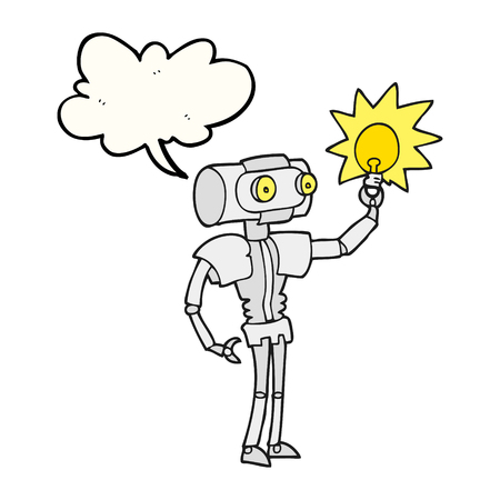 talking robot: freehand drawn speech bubble cartoon robot with light bulb