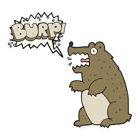 burping: freehand drawn speech bubble cartoon bear