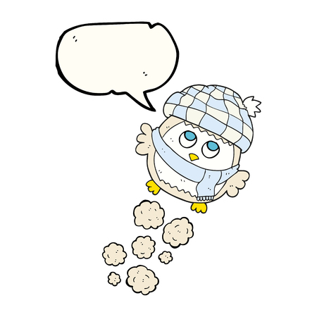 flying hat: freehand drawn speech bubble cartoon cute little owl flying