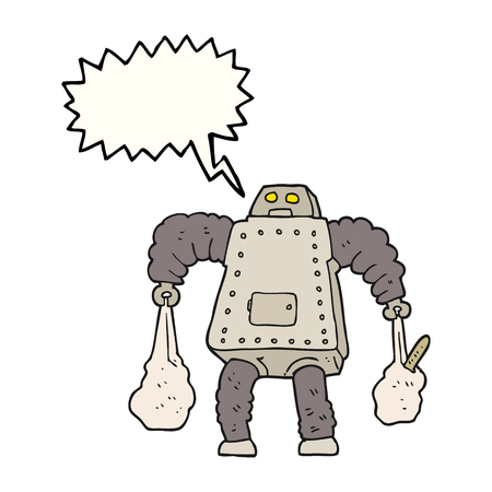 talking robot: freehand drawn speech bubble cartoon robot carrying shopping