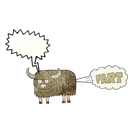 farting: freehand speech bubble textured cartoon hairy cow farting