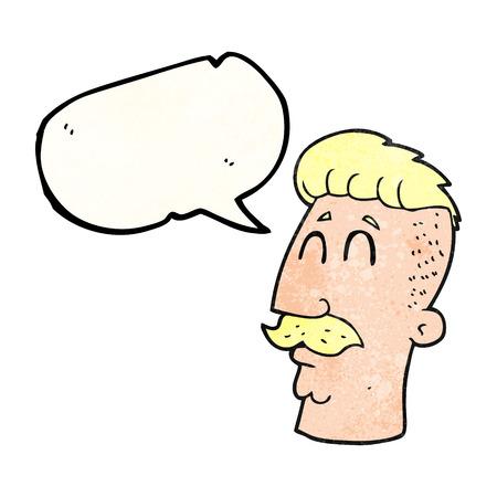 crazy hair: freehand speech bubble textured cartoon man with hipster hair cut