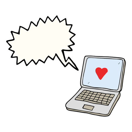 Freehand Drawn Speech Bubble Cartoon Laptop Computer With Heart