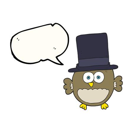 top hat: freehand drawn speech bubble cartoon owl in top hat