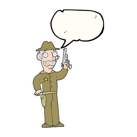 gunfighter: freehand drawn speech bubble cartoon sheriff