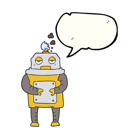 malfunction: freehand drawn speech bubble cartoon broken robot