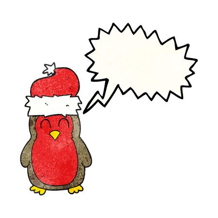 christmas robin: freehand speech bubble textured cartoon christmas robin Illustration