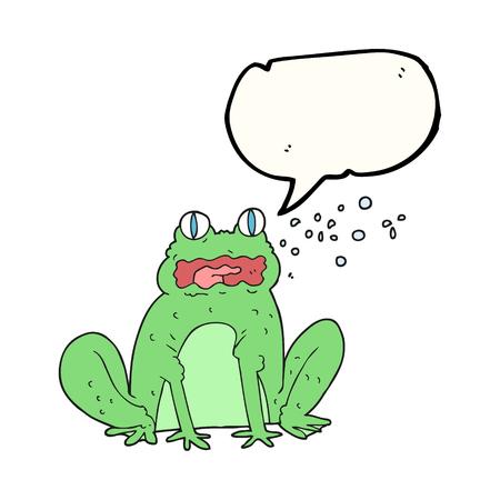 freehand drawn speech bubble cartoon burping frog Illustration