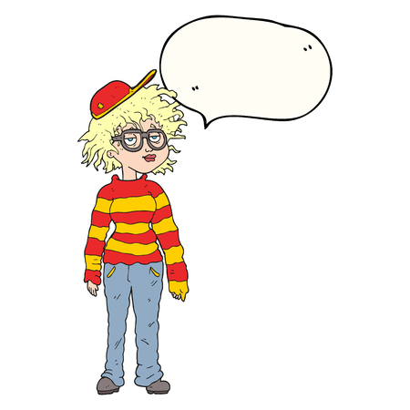 geeky: freehand drawn speech bubble cartoon geeky girl Illustration