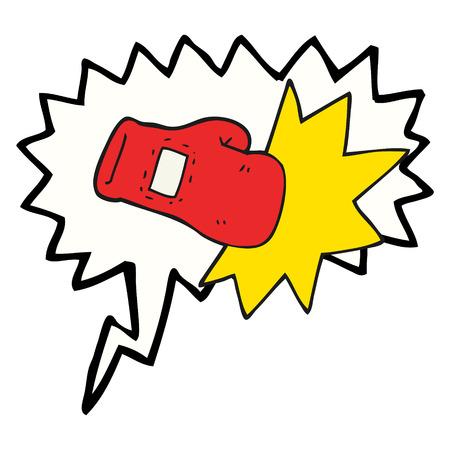 hand cartoon: freehand drawn speech bubble cartoon boxing glove