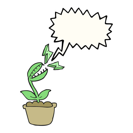 venus: freehand drawn speech bubble cartoon venus fly trap