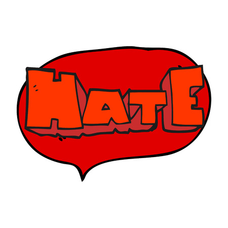 hate: freehand drawn speech bubble cartoon word Hate Illustration