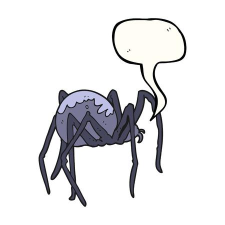 creepy: freehand drawn speech bubble cartoon creepy spider