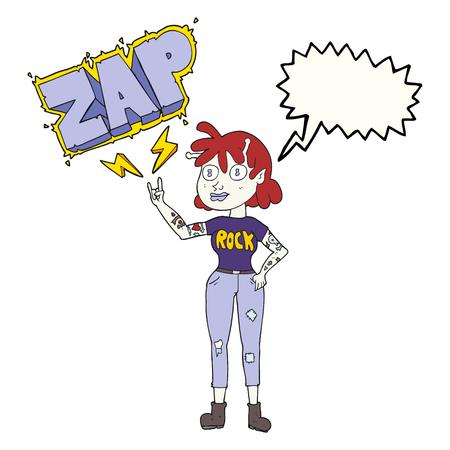 alien women: freehand drawn speech bubble cartoon alien rock fan girl