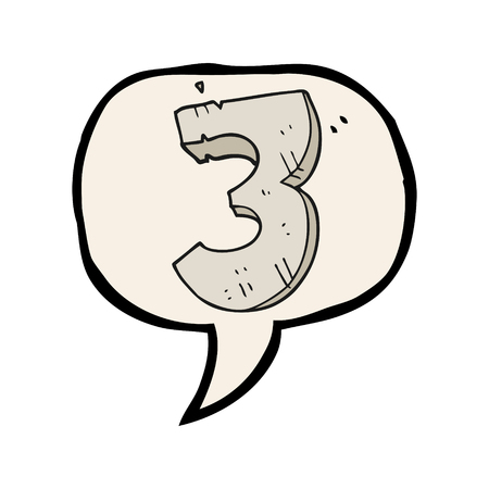 numbers clipart: freehand drawn speech bubble cartoon stone number three Illustration