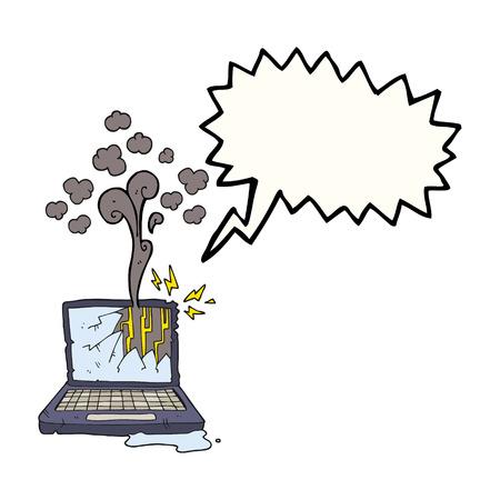 broken computer: freehand drawn speech bubble cartoon broken computer