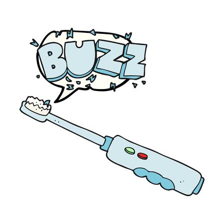 buzzing: freehand drawn speech bubble cartoon buzzing electric toothbrush