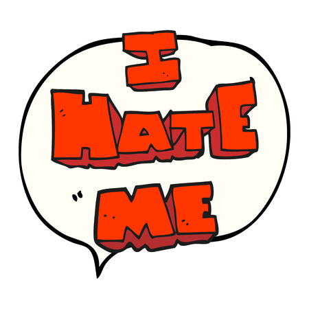 free me: I hate me freehand drawn speech bubble cartoon symbol Illustration