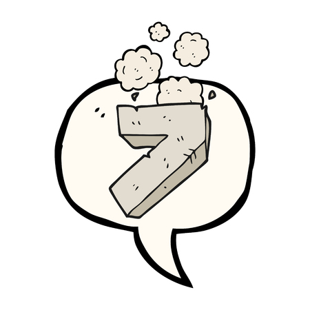 numbers clipart: freehand drawn speech bubble cartoon stone number seven Illustration