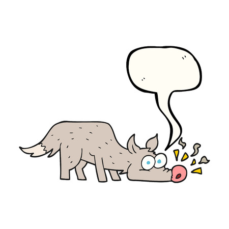 sniffing: freehand drawn speech bubble cartoon dog sniffing