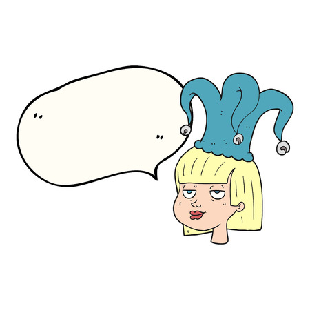stoned: freehand drawn speech bubble cartoon female face with jester hat Illustration
