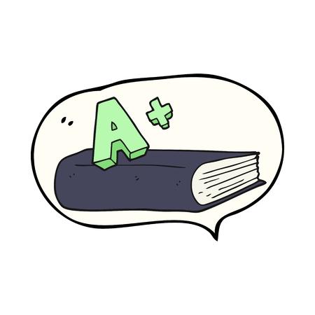 grade: freehand drawn speech bubble cartoon A grade symbol and book