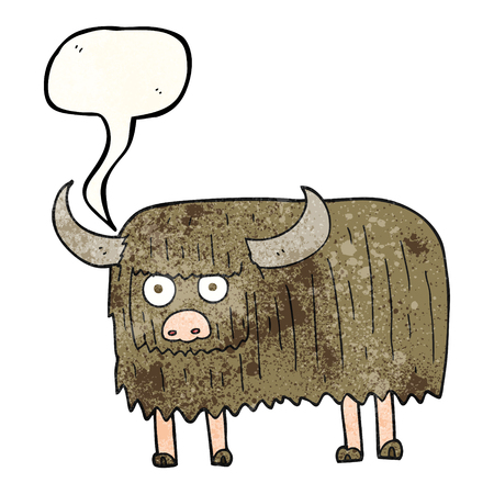hairy: freehand speech bubble textured cartoon hairy cow