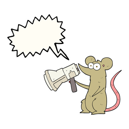 loudhailer: freehand drawn speech bubble cartoon mouse with megaphone