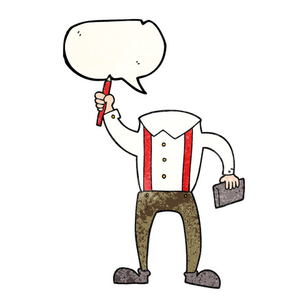 bubble pen: freehand speech bubble textured cartoon headless body with notepad and pen (add own photos)