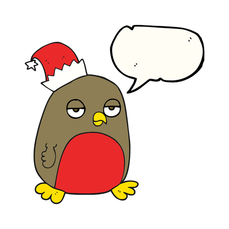 christmas robin: freehand drawn speech bubble cartoon christmas robin wearing christmas hat