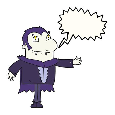 vampire cartoon: freehand drawn speech bubble cartoon vampire