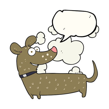 cartoon dog: freehand drawn speech bubble cartoon happy dog