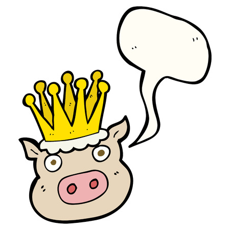 crowed: freehand drawn speech bubble cartoon crowned pig Illustration