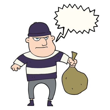 burglar: freehand drawn speech bubble cartoon burglar with loot bag Illustration